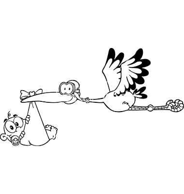 Stork delivering baby cartoon